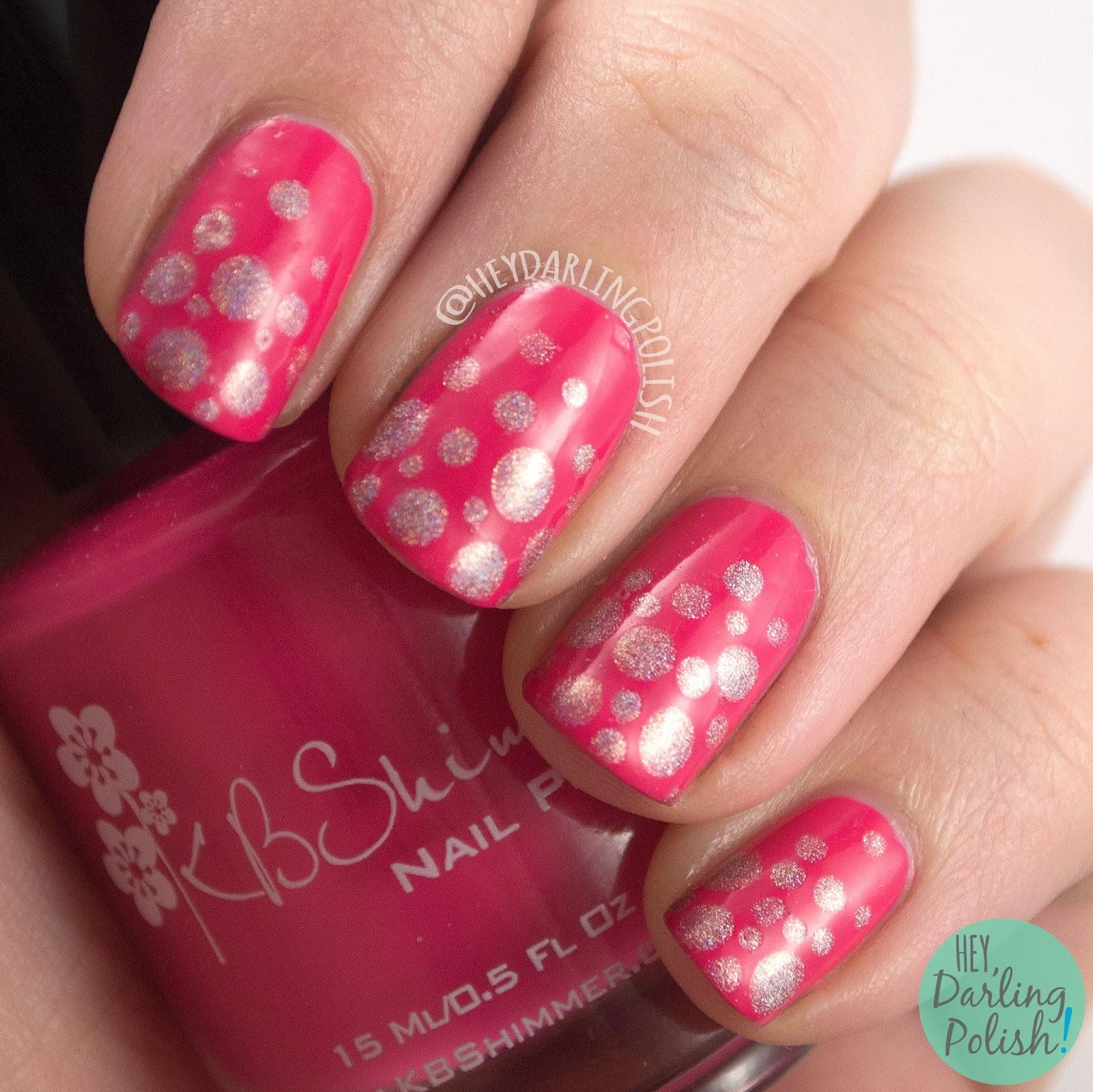 indie polish, nails, nail art, nail polish, pink, polka dots, dots, hey darling polish, nail linkup, bright, holo