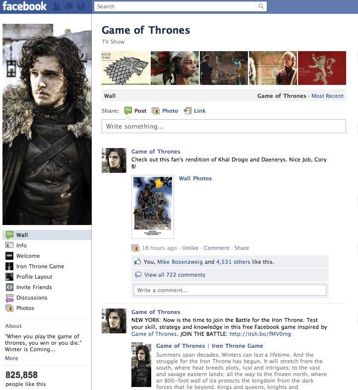 facebook game of thrones