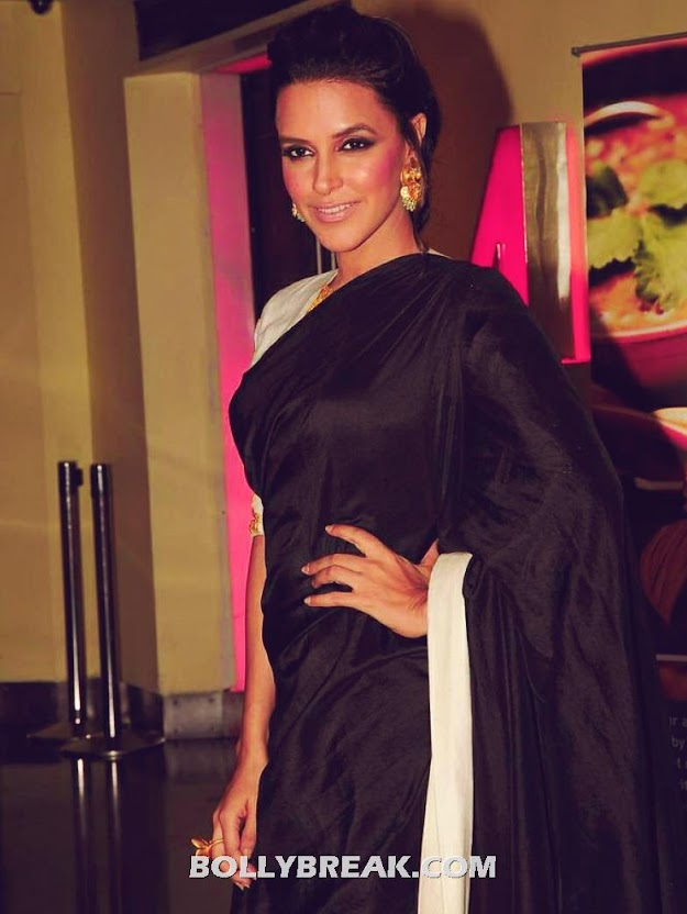 Neha Dhupia in Black Saree, White Blouse by Masaba Gupta