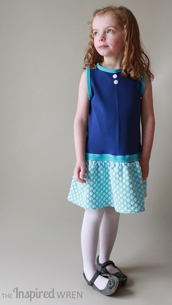 Drop-waist knit dress  -- love the buttons as call-back to the polka dots big and small | Penny Vintage Dress sewn by The Inspired Wren