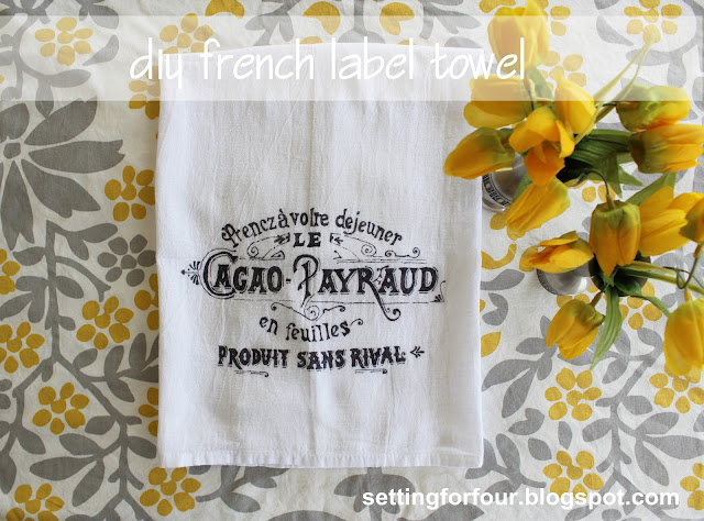 Vintage French Graphic Tea Towel DIY from Setting for Four #vintage #graphic #french #towel #diy #tutorial #craft #gift #marker