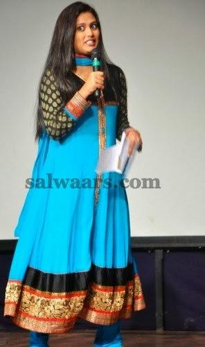 Tamil Anchor Sky Blue Salwar