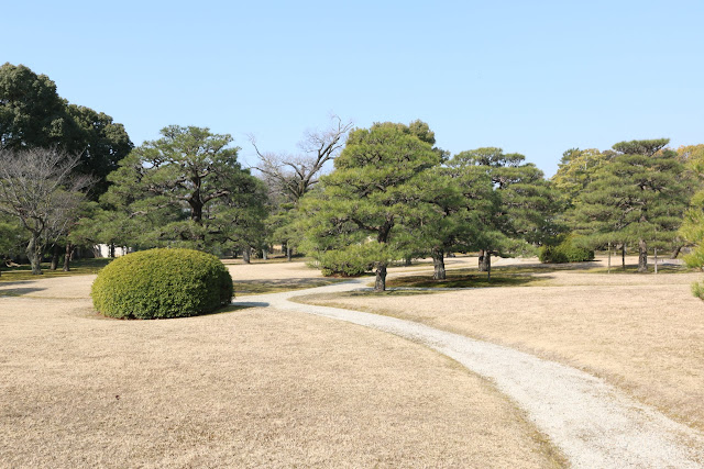 This garden is located nearby Honmaru Palace and it is usually crowded during cherry blossom and autumn season at Nijo Castle in Kyoto, Japan