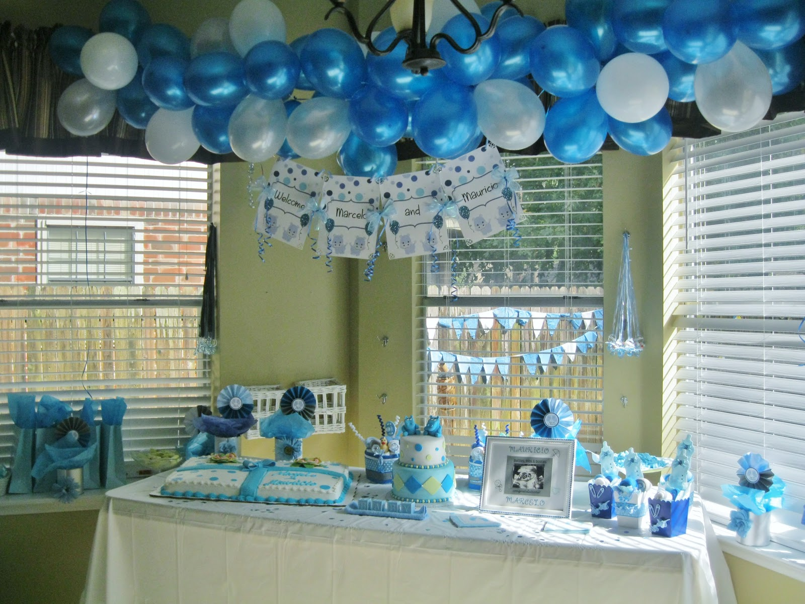 Twin Boys Baby Shower   Baby Hippos Theme