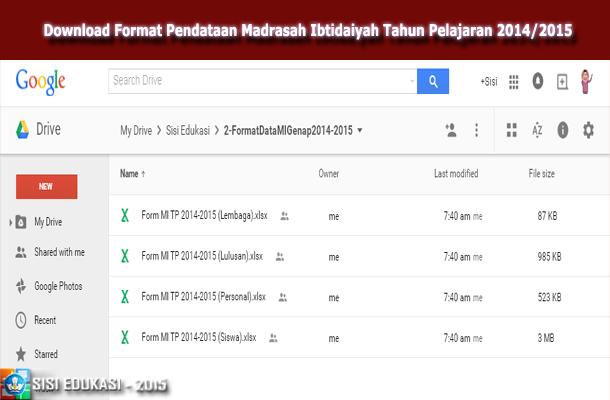 Download Format Pendataan Madrasah Ibtidaiyah Tahun Pelajaran 2014/2015