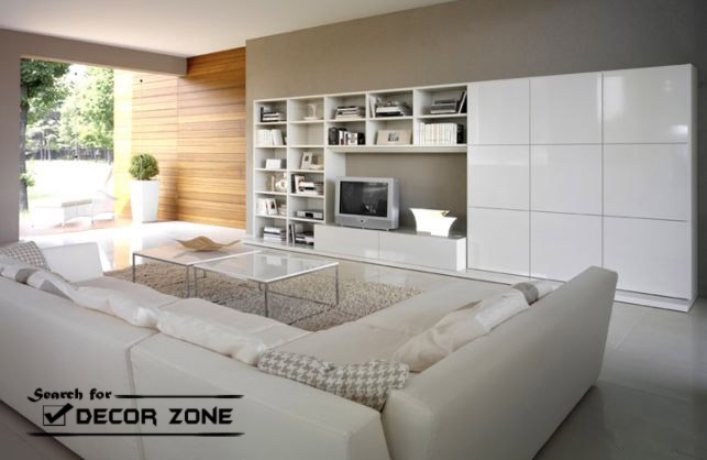 white living room furniture sets - white sofas and large tv wall units