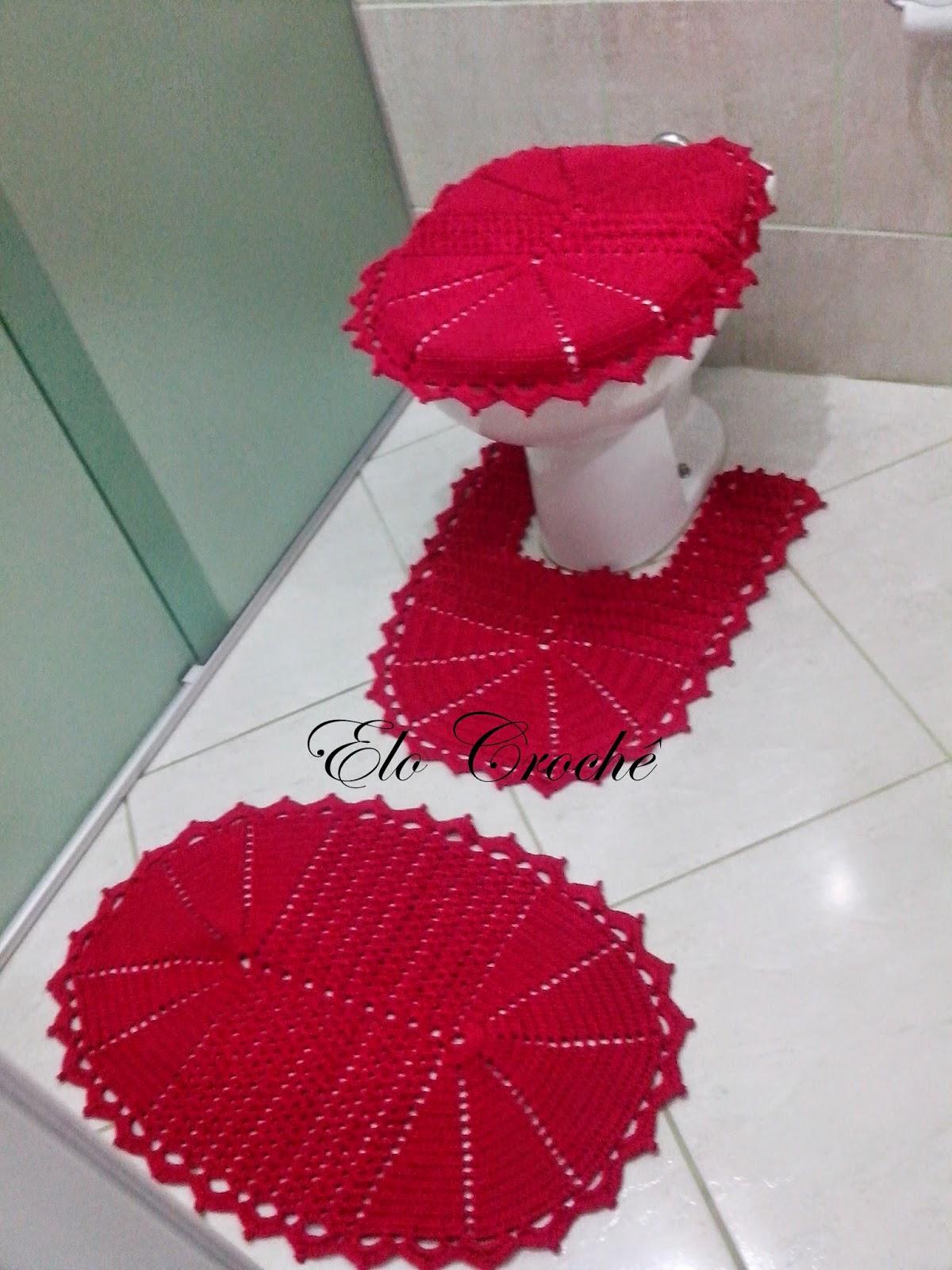 Elo Crochê by Eloiza Castro JOGO DE BANHEIRO DE CROCHÊ VERMELHO PAIXÃO -> Tapete Para Banheiro Croche Simples