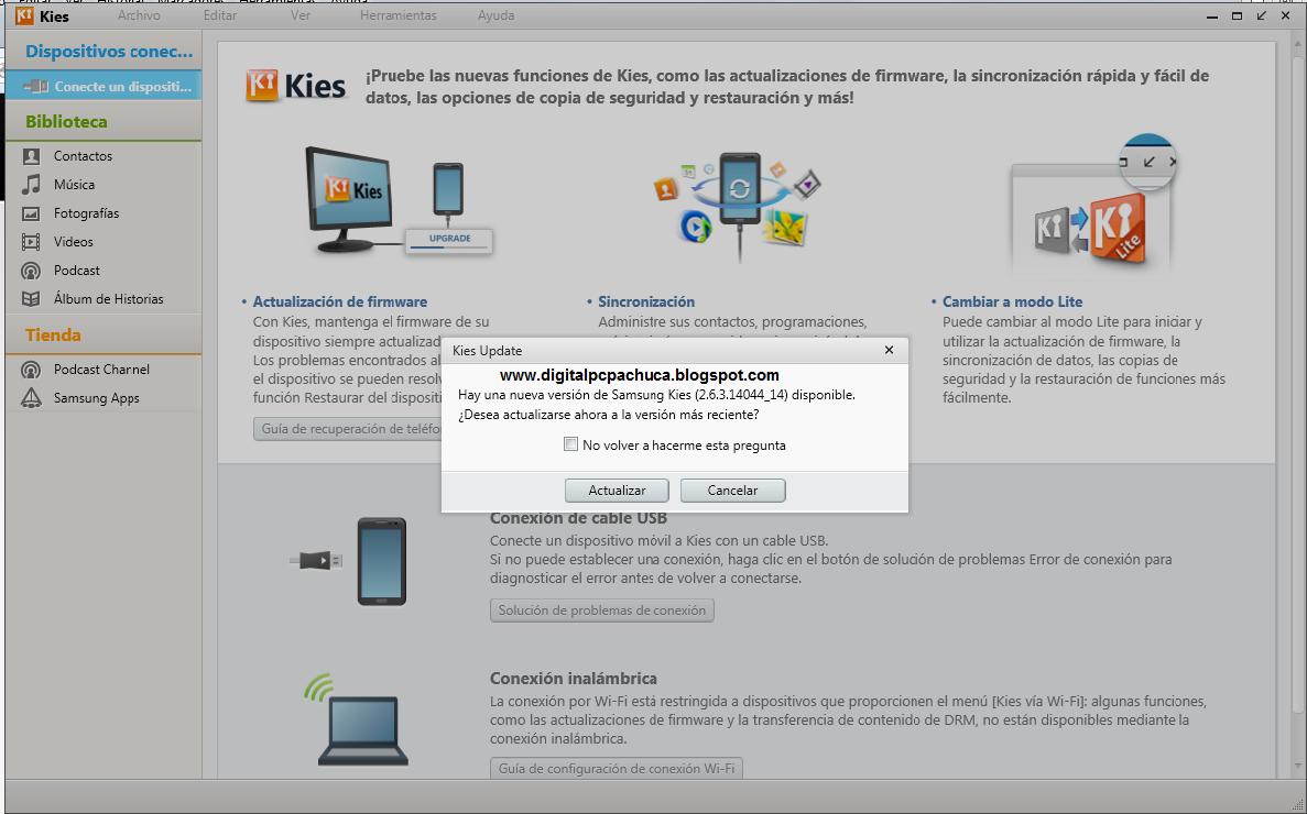 Samsung Kies sincroniza, restaura y actualiza el firmware del teléfono