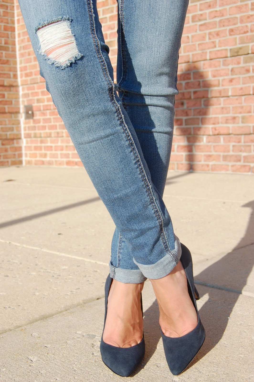 Wearing denim skinny jean overalls, lace top and Charles David navy blue suede heels, fall 2014 look
