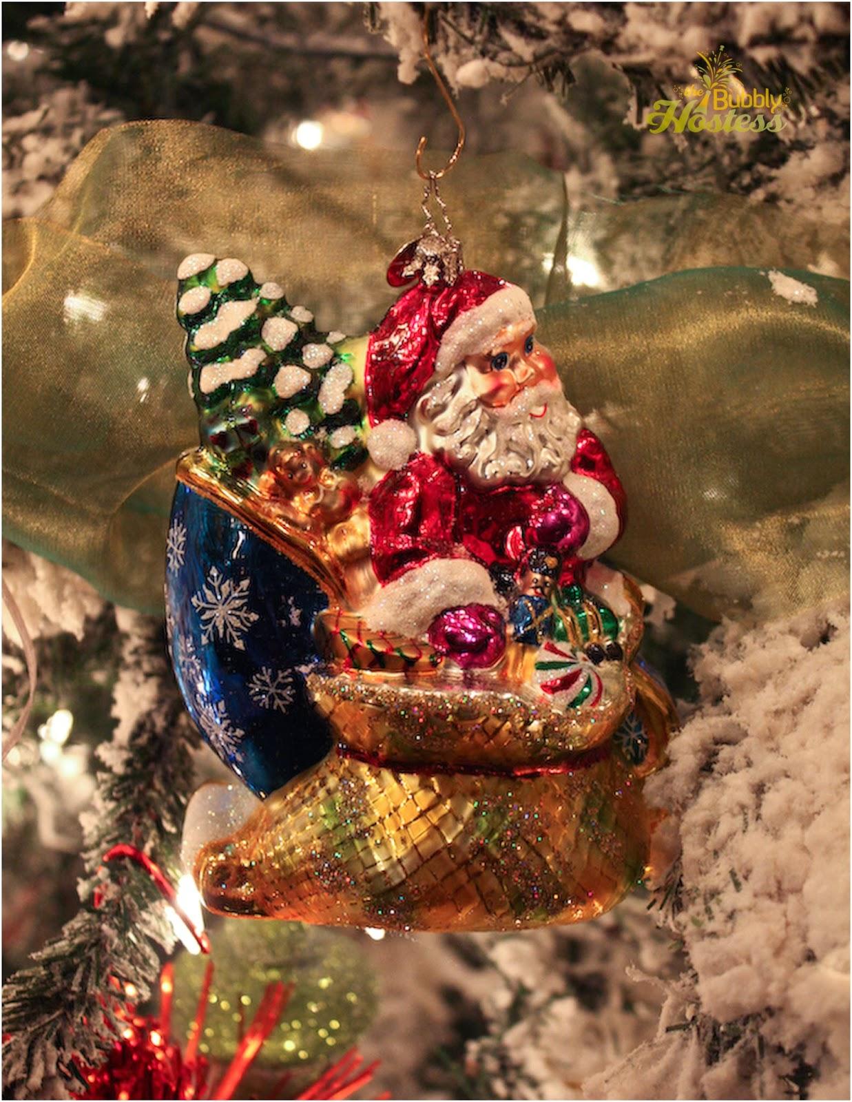 The Bubbly Hostess Flocked Christmas Tree Decorated