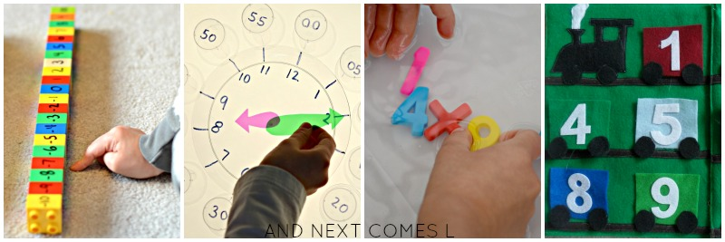Math activities for toddlers, preschoolers, and early elementary kids from And Next Comes L