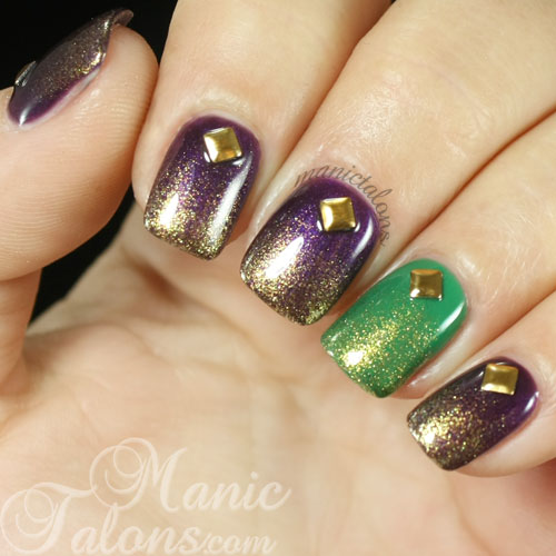Simple Mardi Gras Nail Art