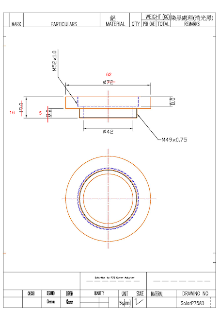 SolarMax II 40 to Pentax 75SDHF lens hood (49mm)