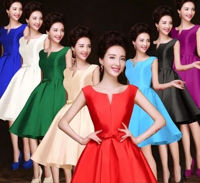 Eight-Color Vintage Retro Satin Flare Party Midi/Maxi Dress