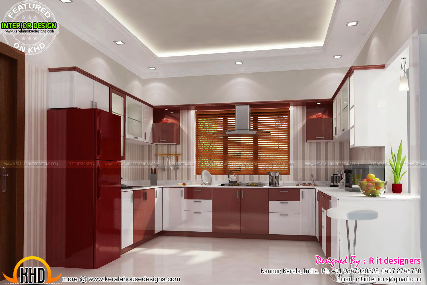 Bifurcated stair bedroom kitchen interiors kerala home for New kitchen designs in kerala