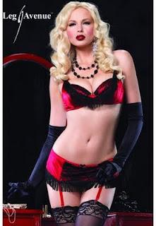 Lingerie burlesque à franges et jarretelles Rouge