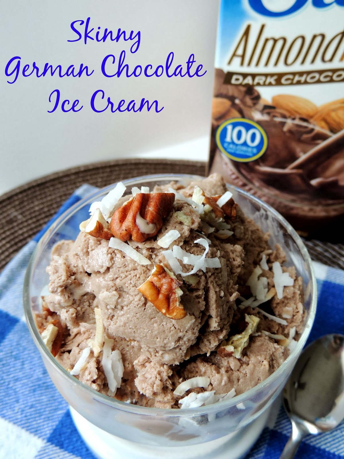 Made with dark chocolate almond milk, this no-churn Skinny German Chocolate Ice Cream is creamy & delicious and easy on the waistline.