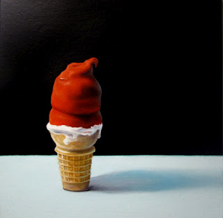 cherry dipped cone painting, realistic still ife of ice cream by jeanne vadeboncoeur