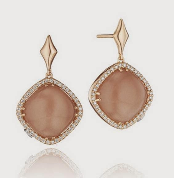 18K Pink Gold Cushion Peach Moonstone Earrings