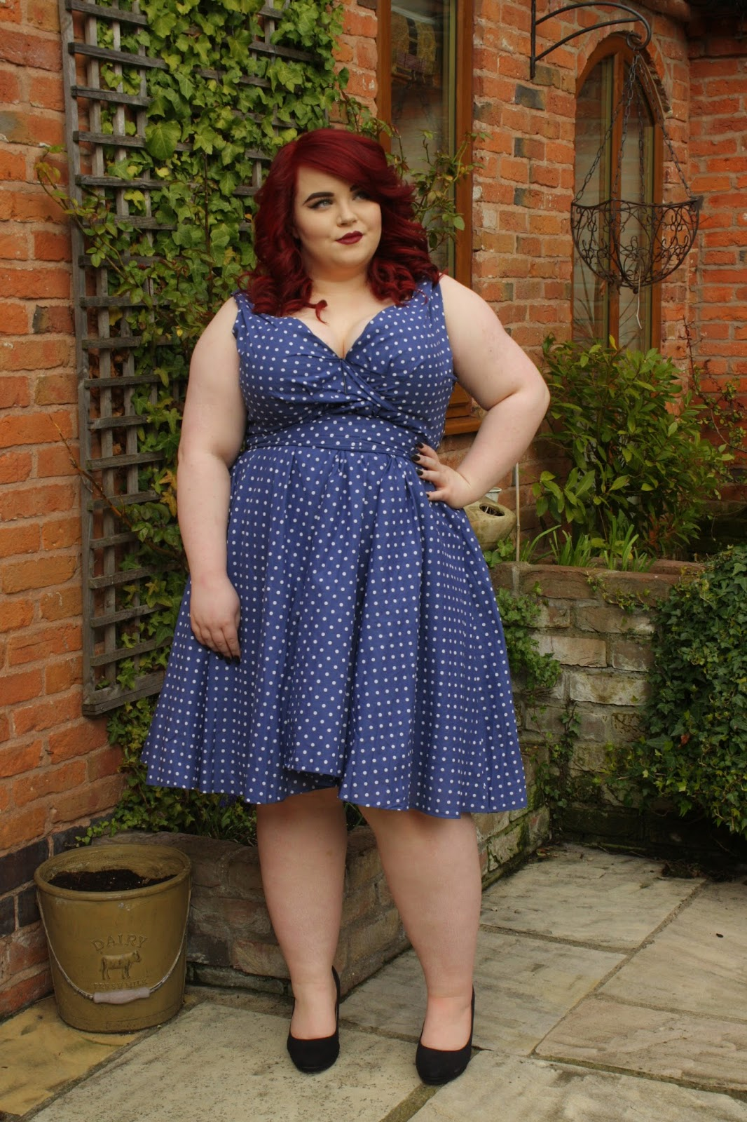 Bbw Couture Blue Polka Dot 1950s Vintage Party Dress She Might Be Loved