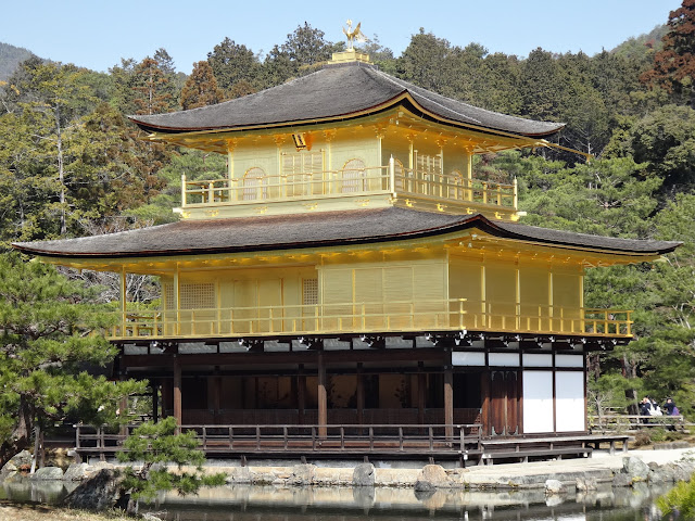 A close-up view of Kinkakuji (Golden Pavilion) is covered in gold leaf in Kyoto, Japan