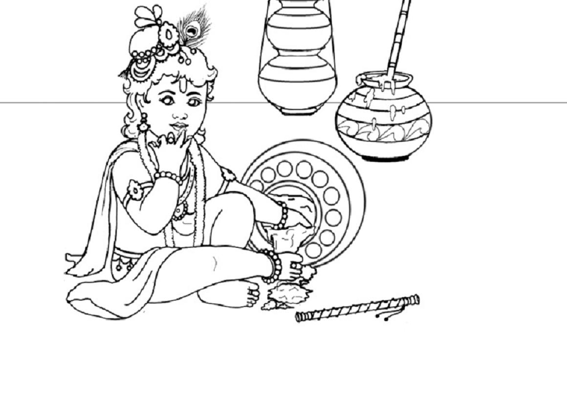 Lord Baby Krishna Coloring Drawing Free wallpaper