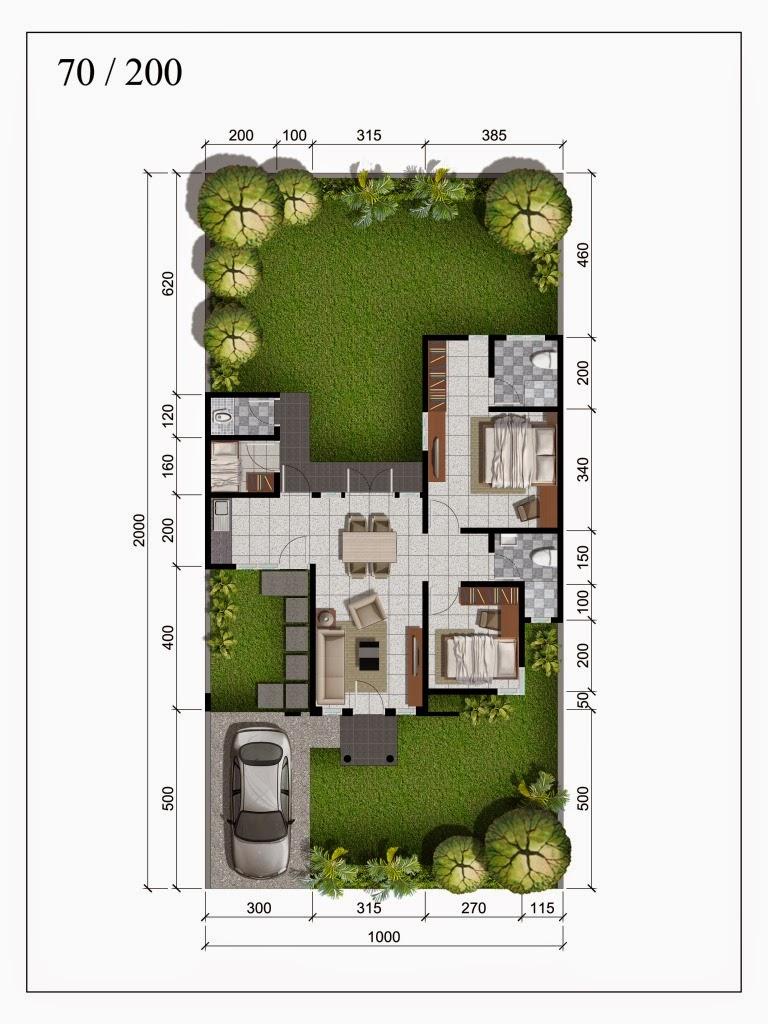 Denah Rumah Minimalis 1 Lantai Type 70 Desain Rumah Minimalis