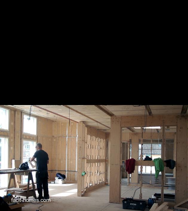Dibujo y foto de un sector de la casa en construcción con D-Process