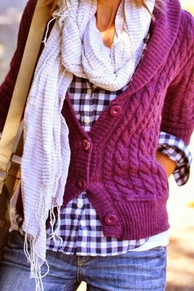 Adorable Purple Wire Knit Sweater with Striped Shirt, White Beautiful Scarf and Blue Jeans, Love It..
