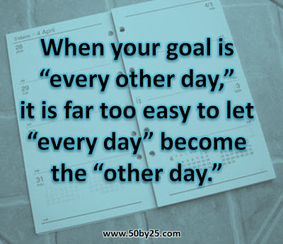 "When your goal is ""every other day"", it is far too easy to let ""every day"" become the ""other day."""