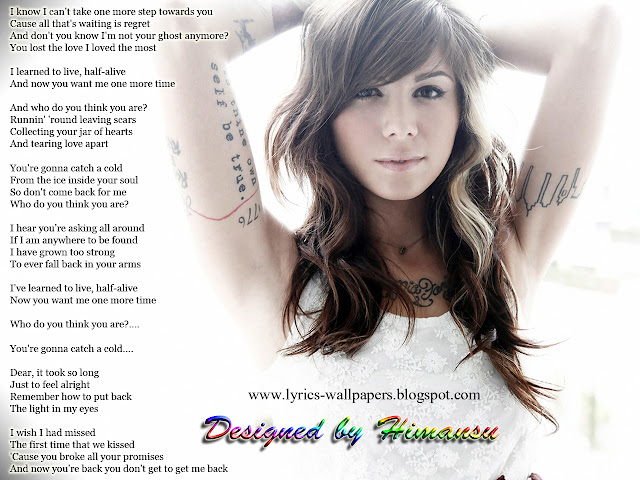 Lyrics Wallpapers: Christina Perri - Jar of Hearts