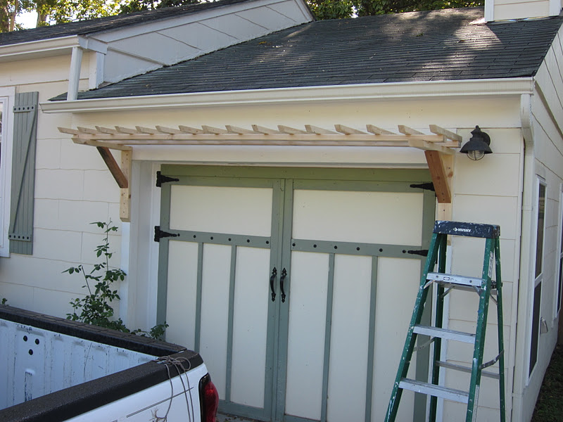 La maison lafortune diy over the carriage doors rose trellis for Build carriage garage doors