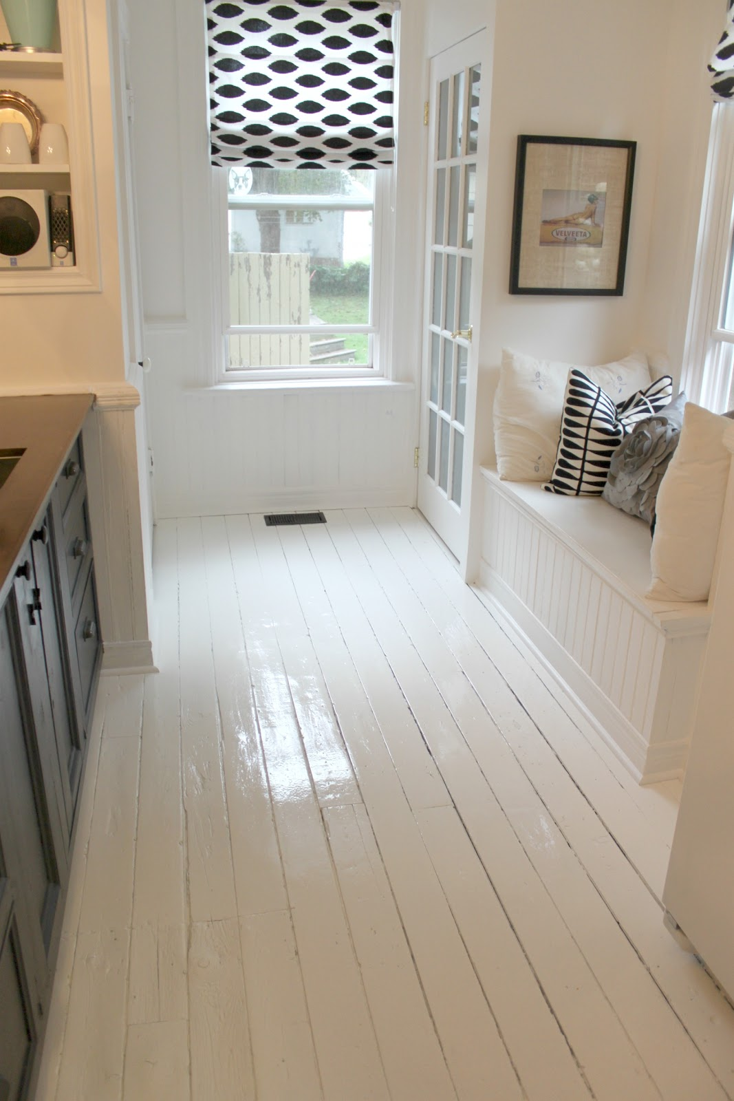 Modern jane white painted floor part 2 a finished for Best paint for wooden floors