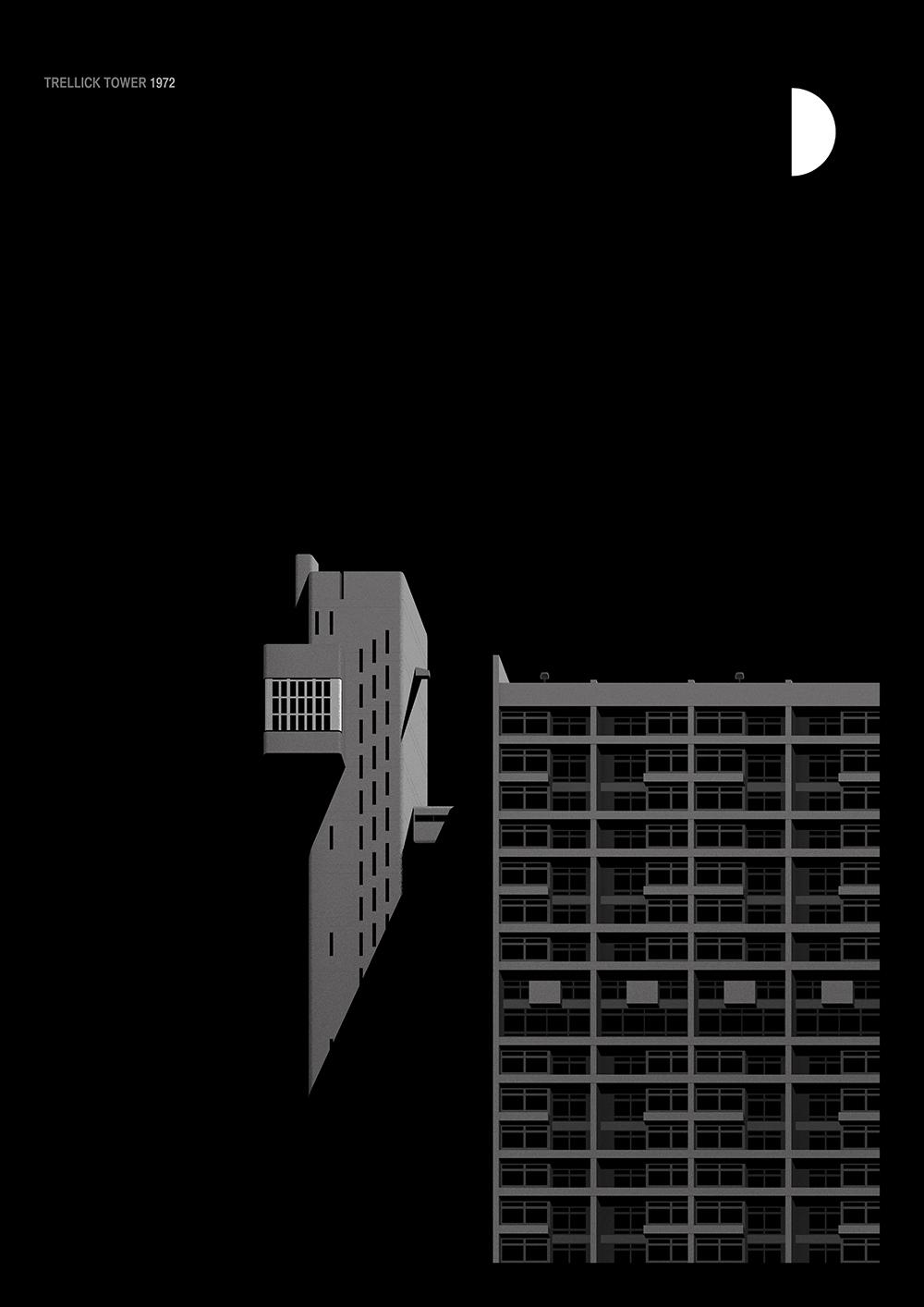 arquitectura brutalista de Londres - ilustração minimalista de Thomas Danthony