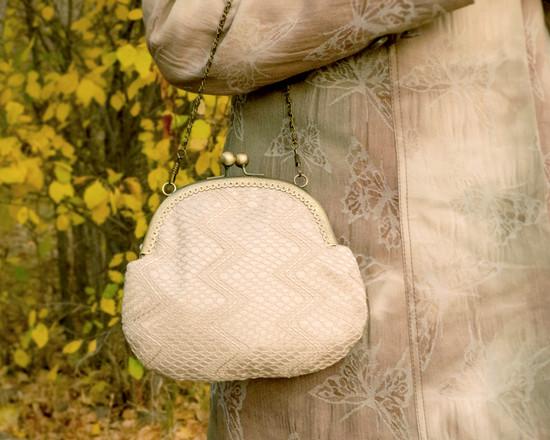Beige Frame bag, бежевый клатч