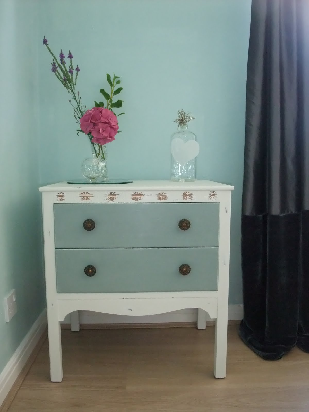 Before & After furniture restyle: vintage small chest of drawers title=