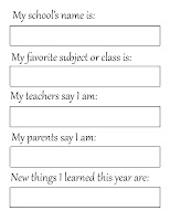 free printable 'My school' page