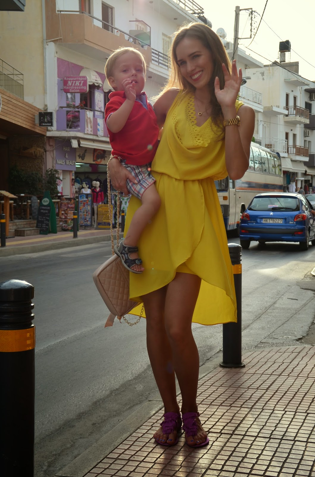 yellow tfnc skater dress crete