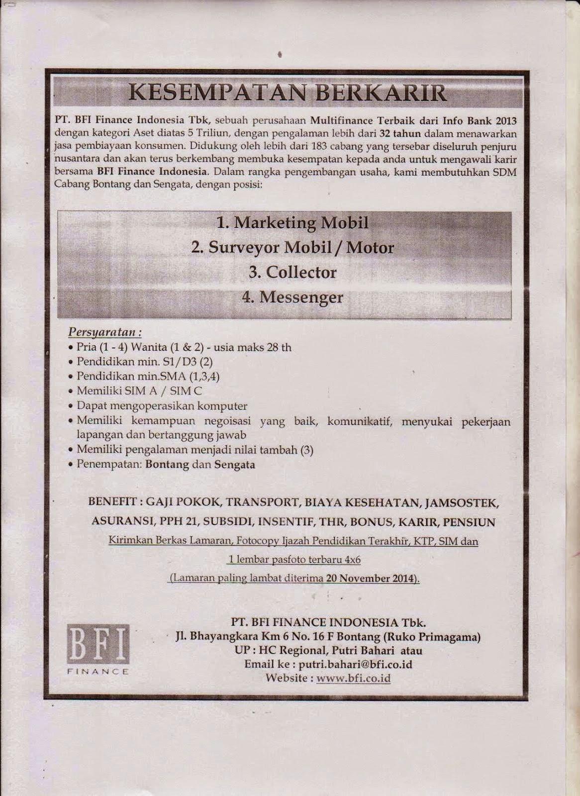 Lowongan Kerja PT BFI Finance Indonesia