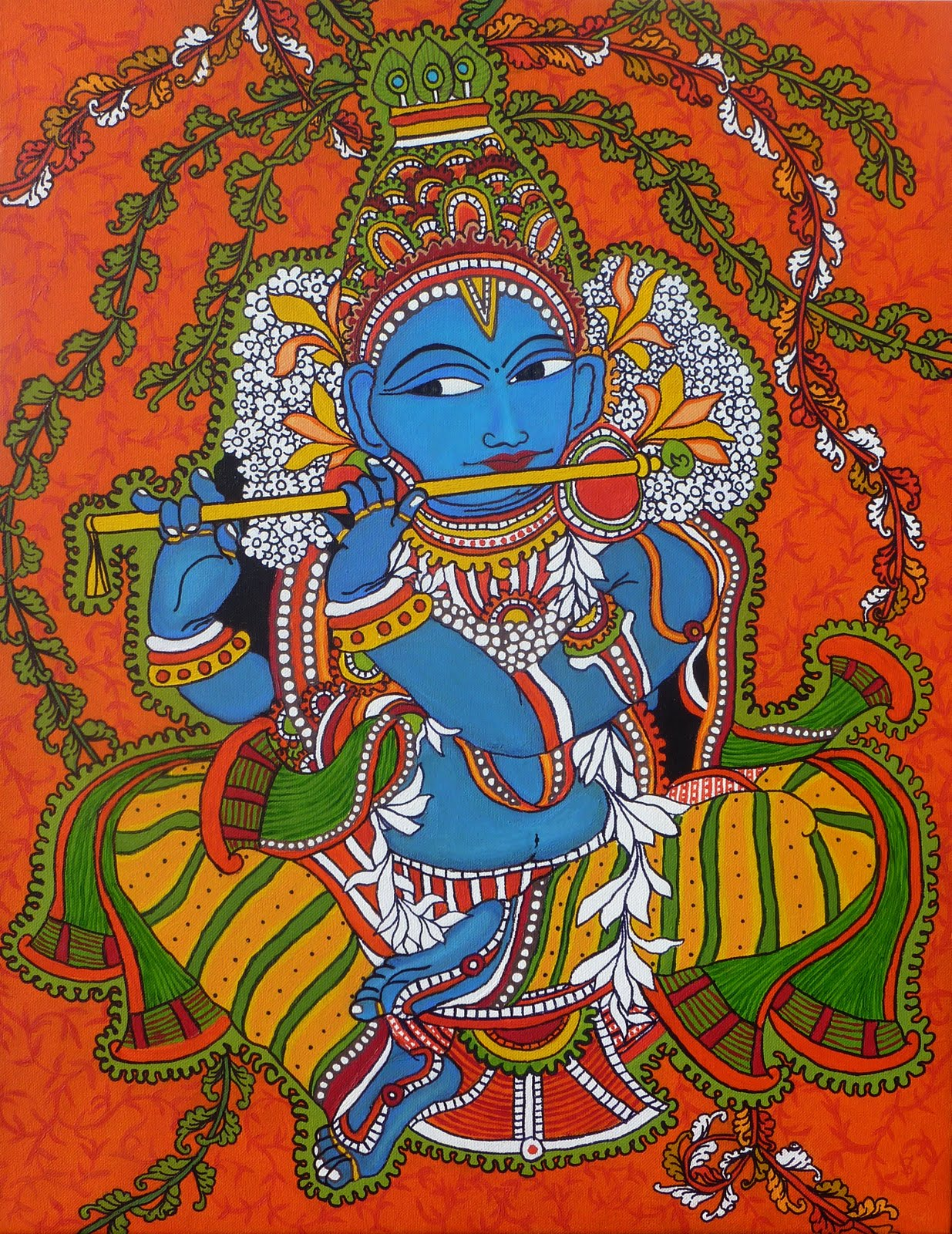 Artists of india krishna mural vidya sukumaran for Mural painting images