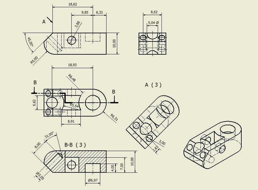 Secciones cortes y roturas cortes por planos paralelos for Plano de planta dibujo tecnico