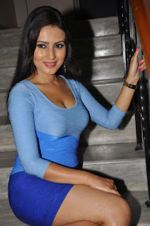 Anu Smruthi in Lovely Blue Tight dress Smiling Beauty Lovely Makeup