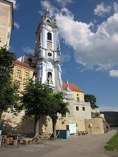 The much photographed tower at the Blue Church in Durnstein Austria