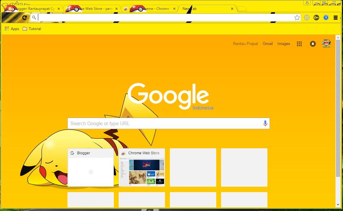 Google themes pikachu - Pikachu Theme For Chrome Tema Pikacu Untuk Chrome