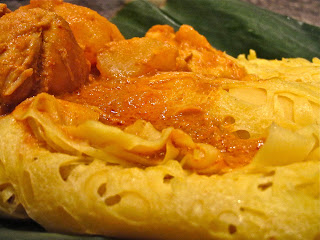 roti jala,chicken curry, Malaysian, bread