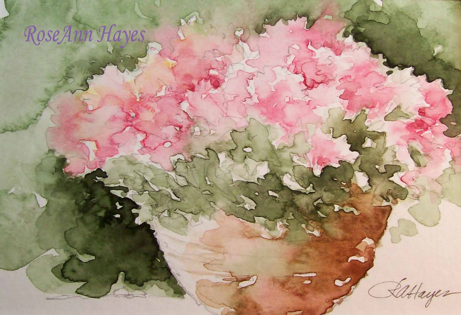 Watercolor paintings by roseann hayes pink flowers in terra cotta pot pink flowers in terra cotta pot mightylinksfo