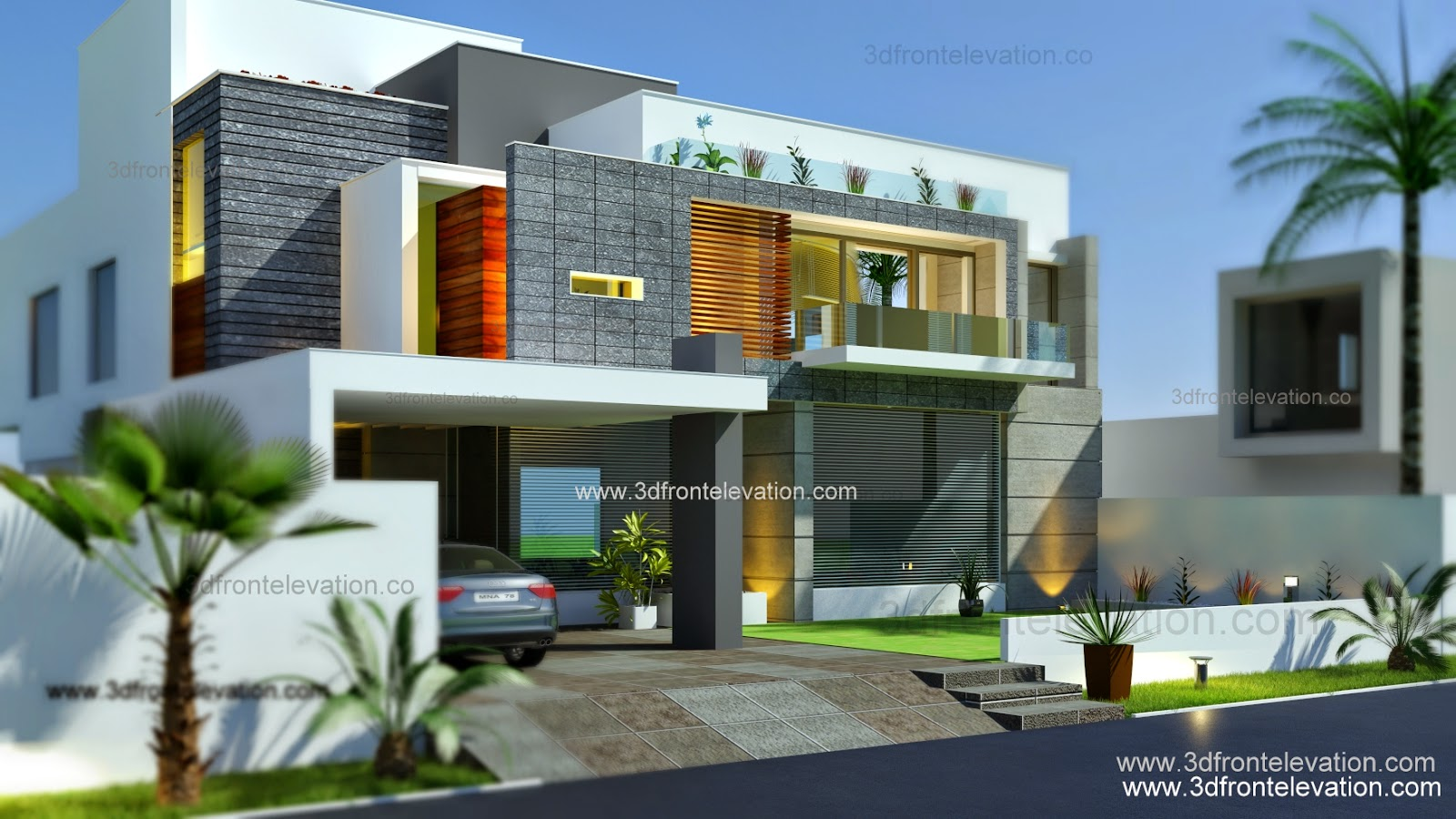 3d front beautiful modern contemporary house elevation 2015 - Modern home pictures ...