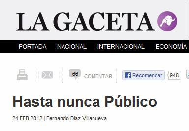 Así recogió La Gaceta el cierre de Público