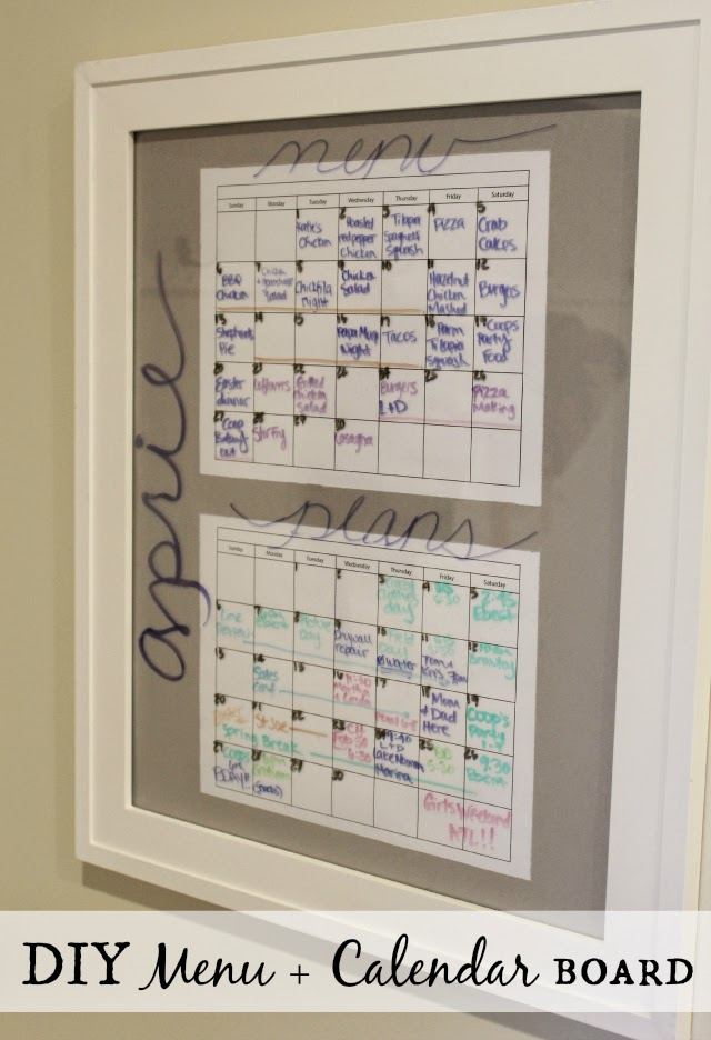 Stilettos and Diapers: DIY Menu and Calendar board