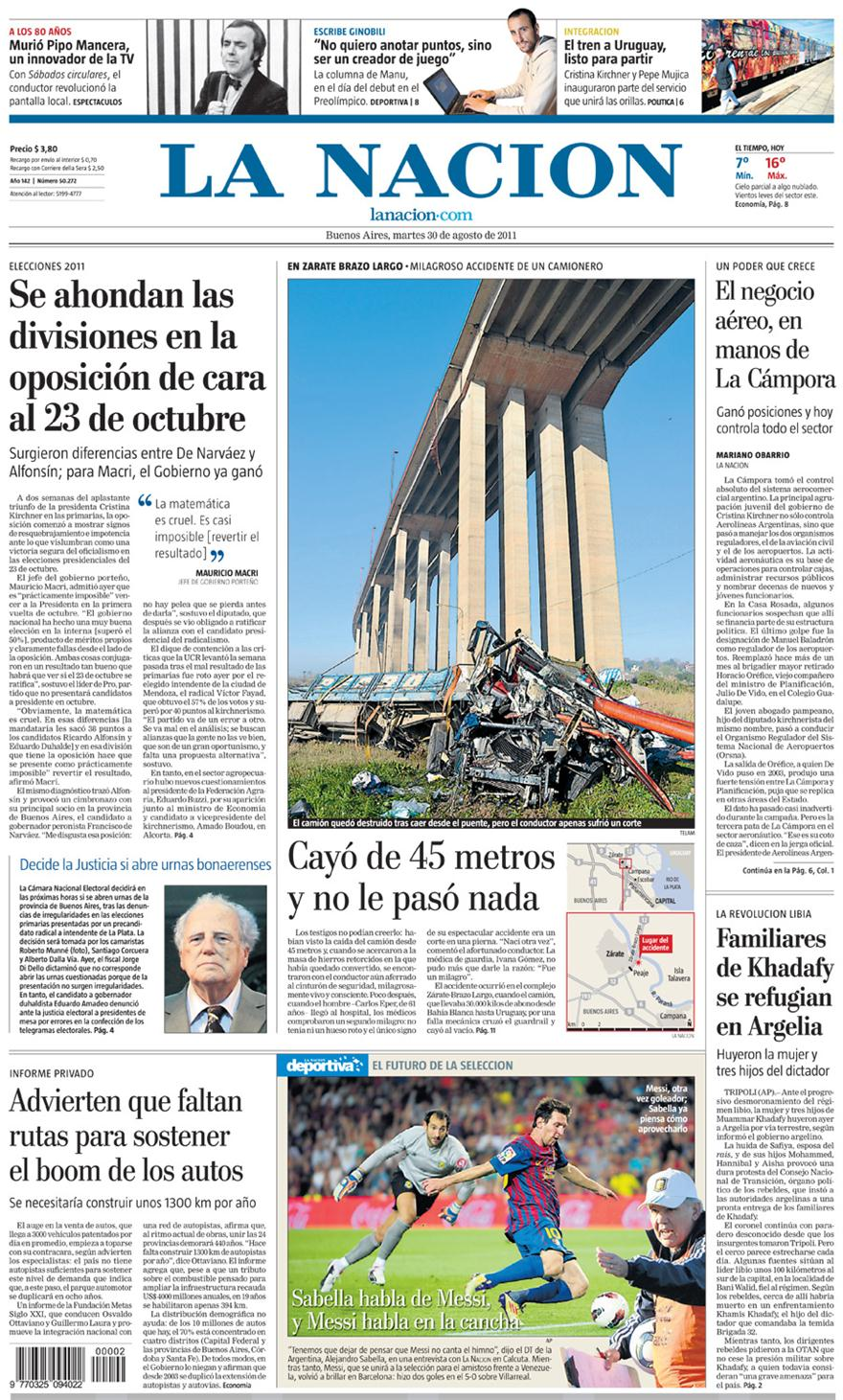 Tapa diarios la nacion clarin 30 08 11 report show for Diarios del espectaculo